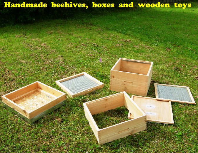 Handmade  beehives,  boxes  and  wooden  toys